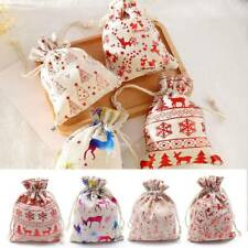 Christmas Candy Packaging Drawstring Bag Xmas Supplies Wrapping Pouch Gift Bags.