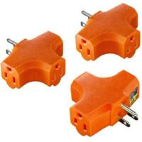 3 Outlet Grounding Adapter [UL Listed] Plug Extender Grounded Power Tap - 3 Pack