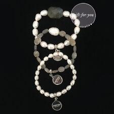 BOWERHAUS Victor Trio Bracelet - Labradorite with Rhodium Coins - Baroque Pearls