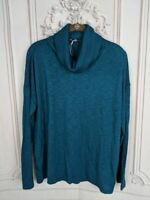 NEW Lilla P Womens L Pullover Sweater Teal Blue Space Dye Long Sleeve Cowl Neck