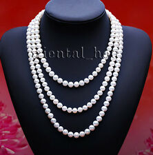 Sale100% Real Natural White Round Freshwater Pearl Jewelry Necklace FreeShipping