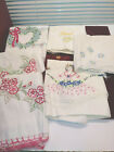 Vintage+Lot+Standard+Embroidery+Pillowcases-1+Pair+4+Singles-Bonnet+Floral-as+is