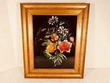 Vintage Framed Floral Reverse Painted Glass Tinsel Foil Art - LOT 2