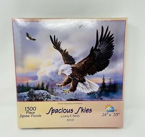 "SunsOut Puzzle Spacious Skies Eagles 1500 Piece Larry K Martin 3072  24""x35"" new"