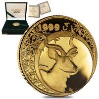 1999 1/10 oz South Africa Natura Kudu Proof Gold Coin (w/Box & COA)