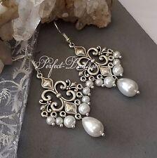 Vintage Style White Faux Pearls Bridal Chandelier Earrings 925 Sterling Tibetan