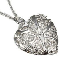 925 Sterling Silver Heart Shape Locket Necklace (Pendant + Chain) #002