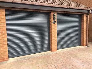 GARAGE DOOR ROLLER 8FT X 8FT INSULATED WITH 2 REMOTES ELECTRIC GREY RAL7016