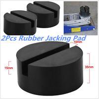 2Pcs Universal Slotted Frame Rail Floor Jack Guard Adapter Lift Rubber Pad Black