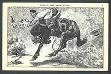 Ca 1920 PPC* This Is The Real McCoy Bucking Bronco Cowboy Loses Booze See Info