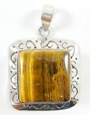 "Sterling Silver Tiger Eye Pendant Handmade Square Cabochon Bezel Set 1.75"""