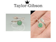 925 Sterling Silver Feather Ring Aventurine Green Adjustable Midi Ring