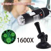 1000/1600X USB Zoom 8LED 2MP Microscope Digital Magnifier Endoscope Camera 1080P