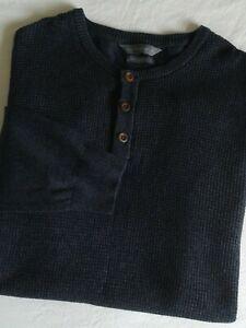 Cedar Wood State Men's Waffle Knit Button Neck Jumper Blue-Grey Size XL