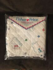 1987 FISHER PRICE REVERSIBLE QUILTED BLANKET 100% COTTON SHEEP STAR LAMB BABY