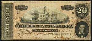 Confederate Currency T67 $20 1964 PF-45 Cr. UNL.