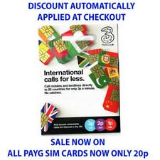 PAYG THREE (3) INTERNATIONAL SIM CARD **NOW ONLY 20p** (DISCOUNT AUTO APPLIED)