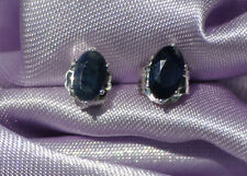 5mm X 3mm  OVAL NATURAL BLUE SAPPHIRE STUDS  IN STERLING SILVER