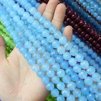 "Genuine 8mm Faceted Round Natural Blue Jade Gems Loose beads strand 15"" DIY"