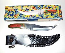 """Hunting Knife W/ Sheath, Fixed Blade 10"""" Total Length - Multi Color Wood Handle"""