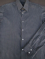 Hugo Boss Mens Button Front Long Sleeve Black Cotton Stripe Shirt 16 1/2