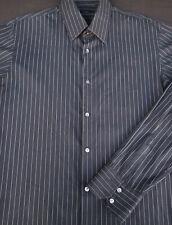 Hugo Boss Mens Button Front Long Sleeve Black Cotton Stripe Shirt 16 1/2
