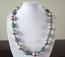 """Southwestern Turquoise SP Copper Ball Seed Bead Strand Necklace 20"""" Toggle"""