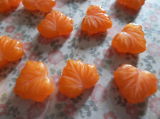 Glass Leaf Beads - Orange Maple Leaves - 13mm X 11mm - Leaf Charms Leaf Pendants