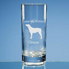 More details for brittany dog lover gift personalised hand engraved highball glass gift