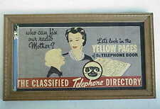 Antique Telephone Yellow Pages Framed Advertisement
