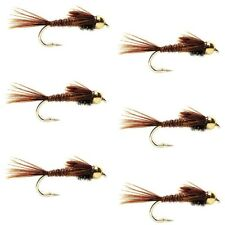 Fly Fishing Flies Pheasant Tail Bead Head Nymph Fly - 6 Flies Hook Size 12