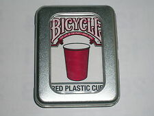1 deck New BICYCLE red plastic cup playing cards wtih tin case S10312841-乙D2