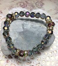 Healing Amethyst Lampwork Crystal Bracelet W/Gold Crystal Rondelles USA