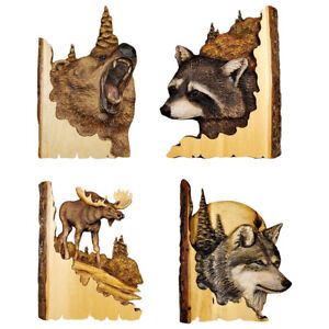 Wood Wall Hangings Craft Wolf Statue Home Decor Handcraft Animal Ornament