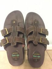 Skechers Tone Ups Brown Leather Walking Dual Buckle Thong Sandals Womens Size 9