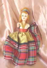 "Vintage Doll Scottish Lass Tartan Plaid Dress Red Hair Moveable Arms Eyes 8"""