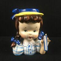 """Vintage Head Vase Napco Little Brunette Girl Teal Blue Pigtails 5"""" Planter"""