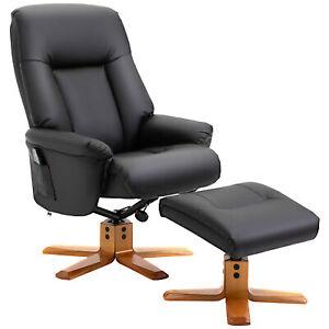 Modern Massage Sofa Set Faux Leather Lounge Office Chair Footstool Swivel Black