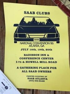 SAAB CLUBS of AMERICA! Large poster from 1986 National Convention - Atlanta GA