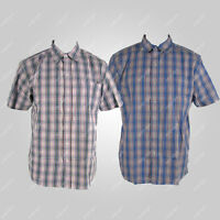 Mens Check Shirt Short Sleeve 100% Cotton Plus Size Extra Large 3XL 4XL 5XL 6XL