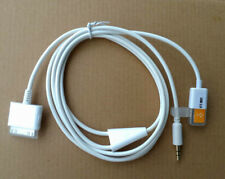 30pin Dock To 3.5mm Car AUX Audio USB Charger Cable For iPhone 4 4S iPod White