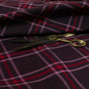 New Furnishing Quality Woven Tartan Fabric Upholstery In Purple Red Colour