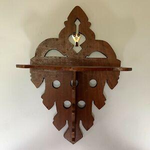 Vintage Victorian Hand Carved Wooden Mahogany curio wall shelf Display shelf