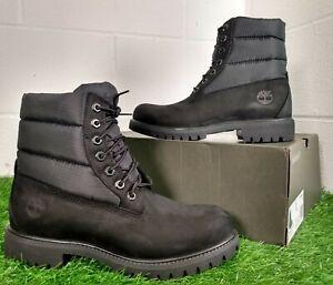 Timberland 6 Inch Premium Puffer Quilt Boots Black Nubuck Size UK 7.5 EU 41.5