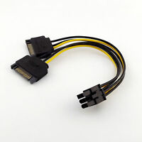 1Pc 2x SATA 15 Pin Male to PCI-E PCI Express 6Pin Video Card Power Adapter Cable
