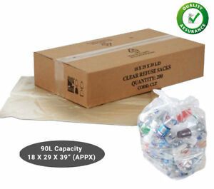 50 Clear Refuse Sacks 140G Strong Bin Bags Rubbish Scrap Waste Recycling Liners