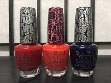 Lot of Three (3) nail polish OPI shatter E55 E58 E63 red pink navy blue