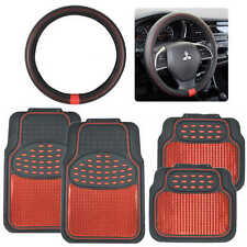 Red/Black Metallic Design Rubber Car Floor Mats & Red Ring Steering Wheel Cover