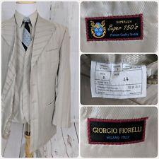 Mens Suit Jacket & Vest 44L Striped Blazer 4 Button Vent Beige Giorgio Fiorelli