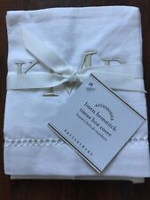 "POTTERY BARN LINEN HEMSTITCH TISSUE BOX COVER, WHITE, MONO ""KMD"""